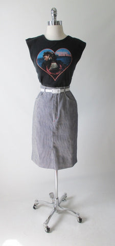 Vintage 80's Hickory Stripe J Lerbret  BIS  Denim Pencil Skirt