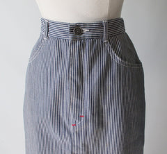 vintage 80's hickory striped denim pencil skirt J Lerbret BIS Paris bombshell bettys vintage waist