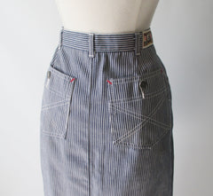 vintage 80's hickory striped denim pencil skirt J Lerbret BIS Paris bombshell bettys vintage pocket