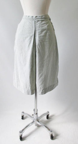 Vintage 40's 50's Green White Stripe Seersucker Culotte Shorts Skirt M