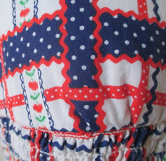 • Vintage 70's Hearts & Flowers Red White Blue Lace Up Halter Top / One Size
