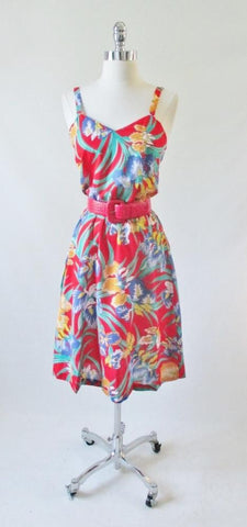Vintage 70's Red Tropical Hawaiian Style Summer Dress New Vintage S
