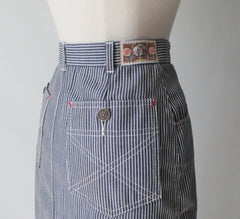 vintage 80's hickory striped denim pencil skirt J Lerbret BIS Paris bombshell bettys vintage side