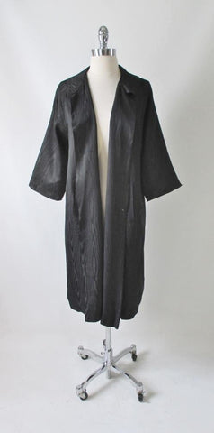 Vintage 50's Black Moiré Taffeta Evening Swing Coat Jacket M