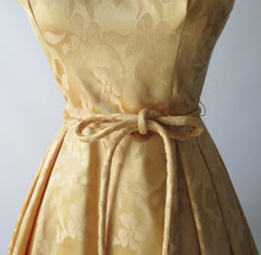 vintage 50's 60's gold damask satin full skirt party wedding special occasion formal dress belt