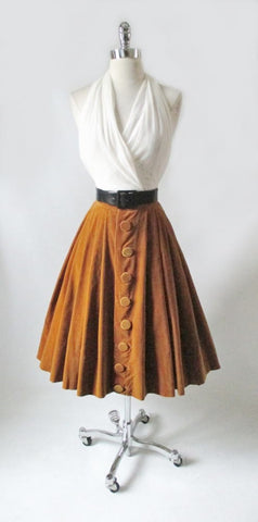Vintage 50's 60's Gold Velvet Full Flared Swing Skirt XS