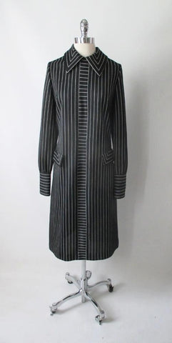 Vintage 60's Gothic Black White Pinstripe MOD Shift Tea Dress