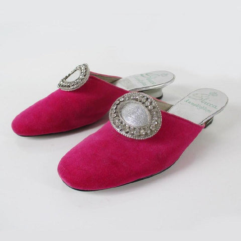 Vintage 60's MOD Pink Velvet Evening Shoes Slippers 7 M