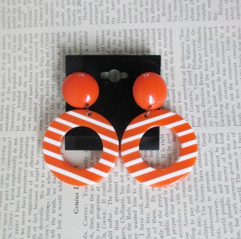 Vintage 80's Big Orange White Stripe Lucite Dangle Circle Earrings