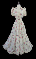 z Vintage 40's Romantic Floral Taffeta Evening Gown House Dress S - Bombshell Bettys Vintage