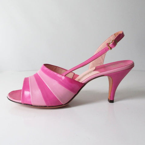 Vintage 50's 60's Pink Striped Slingback Heels Shoes 9 1/2 N