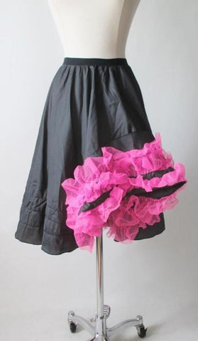 Vintage 50's 60's Dark Grey Pink Ruffle Can Can Petticoat Crinoline Slip