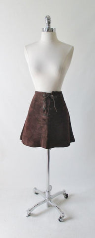 Vintage 60's 70's Brown Suede Leather Lace Front Mini Skirt M