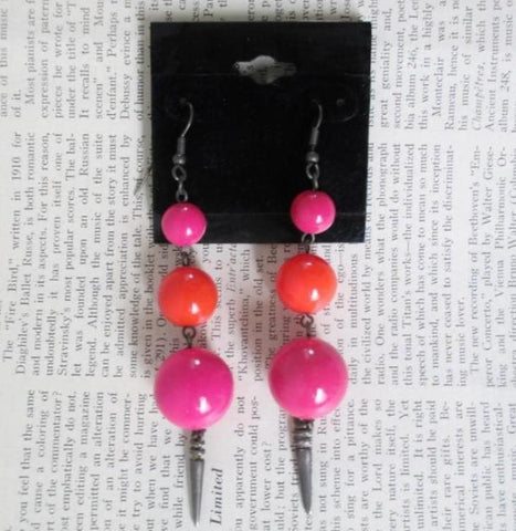Vintage 80's Big Pink Orange Sphere Dangle New Wave Glam Earrings