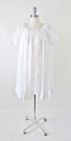 Vintage 50s White Chiffon Baby Doll Nightie Night Gown & Robe Set M
