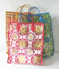 vintage 60's vinyl clear plastic shopping tote bag set of three gallery
