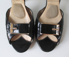 Vintage 50's Black Gold Buckle Springolator Heels Shoes 8 - Bombshell Bettys Vintage