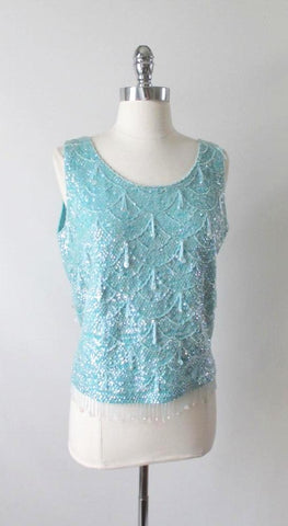 Vintage 50's 60's Aquamarine Sequins Beaded Shell Tank Top L