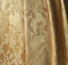 vintage 50's 60's gold damask satin full skirt party wedding special occasion formal dress fabric