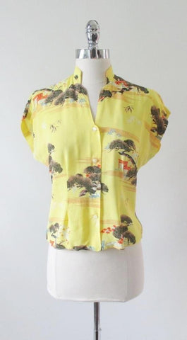 Vintage 50's Silk Hawaiian Blouse Top S M