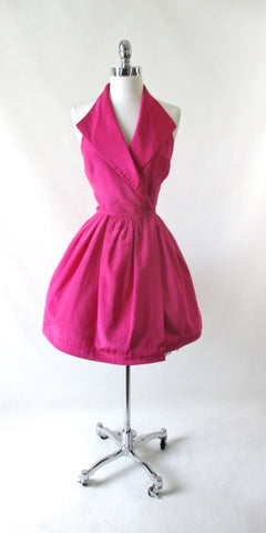 Vintage 80's Hot Pink Full Skirt Party Dress S