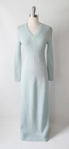 Vintage 70's Francesca for Damon Icy Blue Italian Knit Sweater Maxi Dress M / L