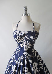 Vintage 50's 60's Blue Hawaiian White Print Full Swing Skirt Dress - Bombshell Bettys Vintage