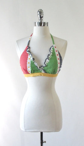 Vintage 70's Polka Dot & Ruffle Halter Top / One Size