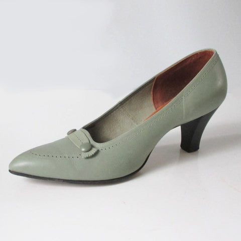Vintage 60's Mint Green Loafer Stacked Heels Shoes 7 - 7.5