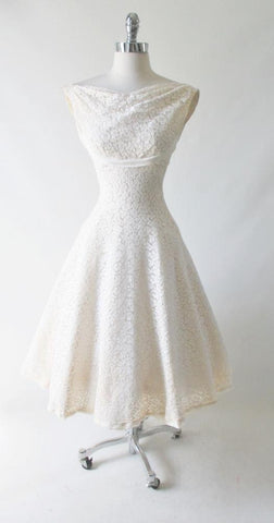 Vintage 50's White Lace Wedding Dress XS