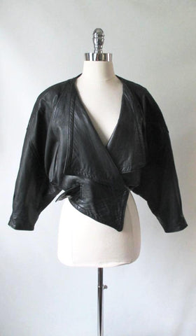 Vintage 80's English Black Leather Origami Jacket S / M
