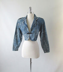 • Vintage 80's Acid Wash Denim Jean Cropped Bolero Jacket Coat - Bombshell Bettys Vintage