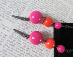 Vintage 80's Big Pink Orange Sphere Dangle New Wave Glam Earrings - Bombshell Bettys Vintage