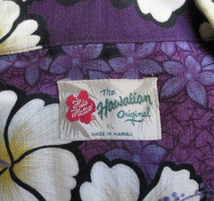 Mens Vintage Hilo Hattie Purple Hibiscus Barkcloth Hawaiian Shirt XL - Bombshell Bettys Vintage