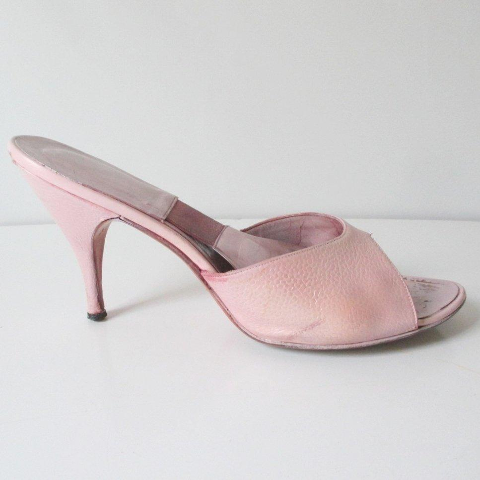 Vintage 50's Pink Textured Springolator Heels Shoes 8 / 8.5 M - Bombshell Bettys Vintage