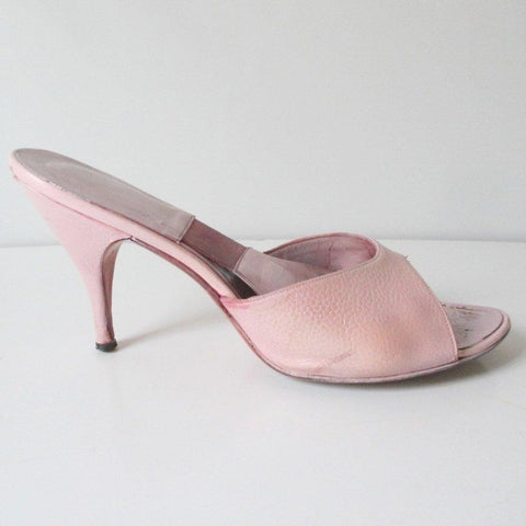 Vintage 50's Pink Textured Springolator Heels Shoes 8 / 8.5 M