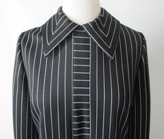 vintage 60's 70's mod gothic black white Addams stripe mod Herman Marcus shift tea dress collar