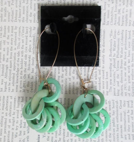 Vintage 80's Big Apple Green Rings Hoop Dangle New Wave Glam Earrings