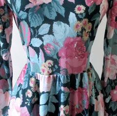 vintage 80's pink roses tea dress bombshell bettys vintage waist