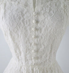 Vintage 50's White Lace Wedding Dress M - Bombshell Bettys Vintage