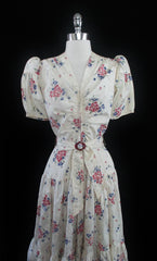 vintage 40's 1940's creme floral wedding evening gown bodice