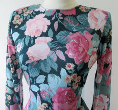 vintage 80's pink roses tea dress bodice