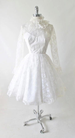 Vintage 60's White Lace Full Skirt Lilli Diamond Wedding Dress S
