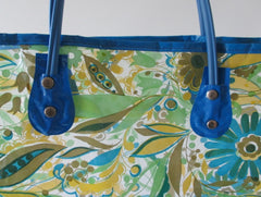 vintage 60's vinyl clear plastic shopping tote bag set of three blue hangle