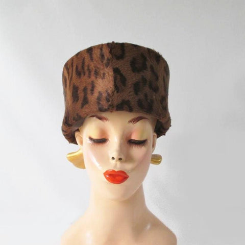 Vintage 70's 80's Structured Leopard Pillbox Hat