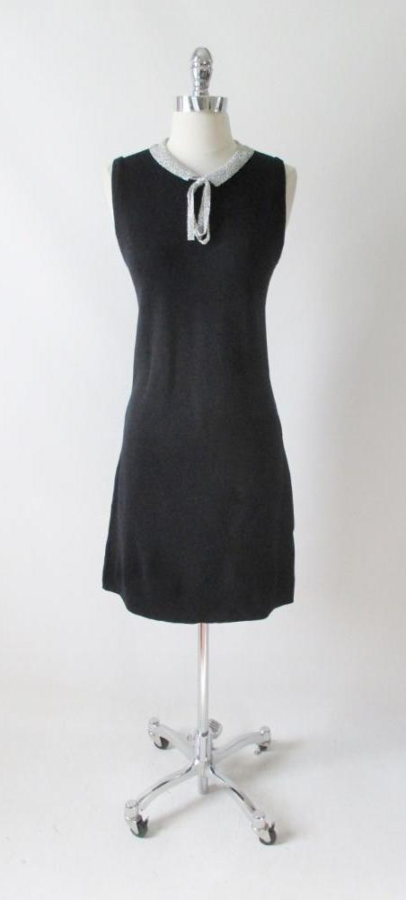 vintage 60's black silver lurex sweater knit Donbros Scotland black wool party dress bombshell bettys vintage