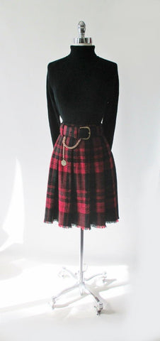 Vintage Tartan Plaid Skirt Gold Chain Belt L