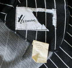 vintage 60's 70's gothic black white Addams stripe mod Herman Marcus shift tea dress tag