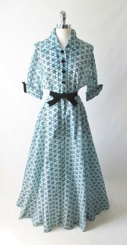 Vintage 50's Sheer Blue Flocked Sarburst Hostess Gown Dressing Robe L