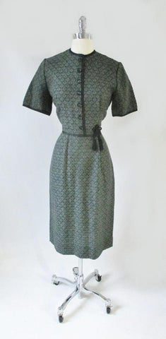Vintage 50's Green Floral Knit Sheath Dress Tassel Detail M